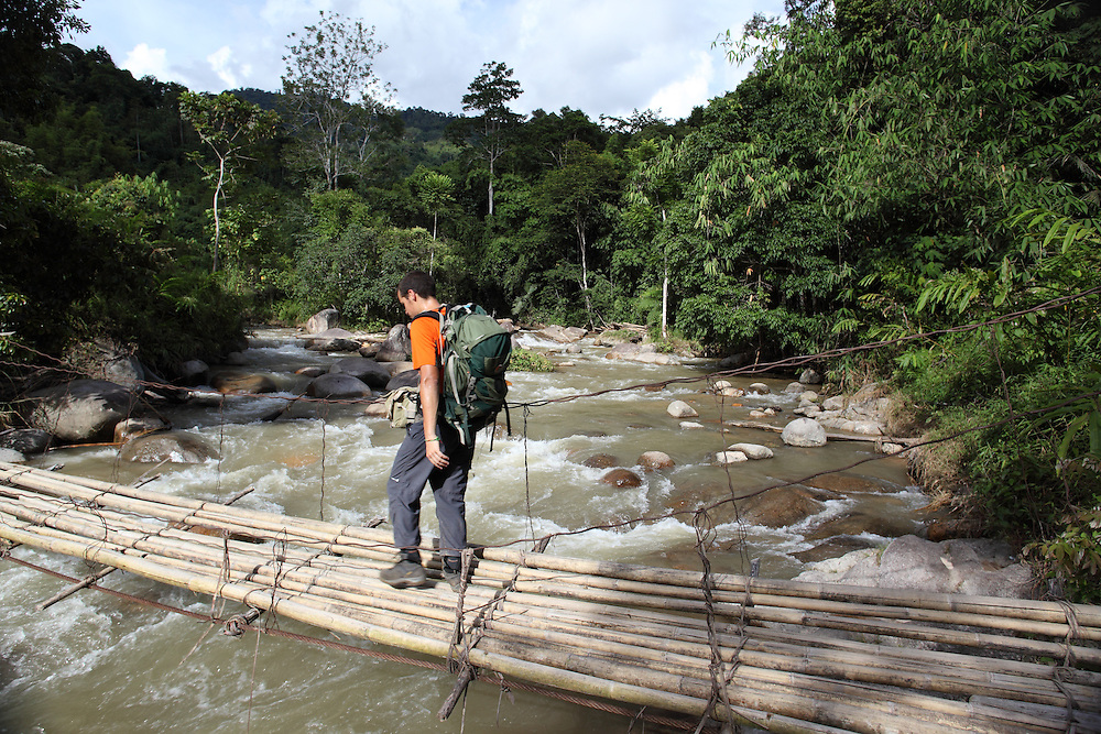 Traveller crossing a bamboo bridge.