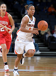 Virginia guard Sharnee Zoll (5) brings the ball up court against Davidson.  The Virginia Cavaliers women's basketball team defeated the Davidson Wildcats 83-68 at the John Paul Jones Arena in Charlottesville, VA on December 20, 2007.