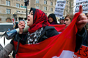 February 5, 2011 - A protestor leads protest chants on Saturday in Copley Square during a protest in support of the Egyptian people that began to protest their government last month. Photo by Lathan Goumas.
