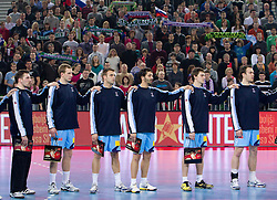 Players of Slovenia Primoz Prost, Jure Susin, Matjaz Brumen, David Spiler, Sebastjan Skube and Jure Natek during handball match between National teams of Slovenia and Poland of Qualifications for EURO 2012, on March 9, 2011 in Arena Stozice, Ljubljana, Slovenia. (Photo By Vid Ponikvar / Sportida.com)