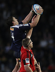 Stormers lock Rynhardt Elstadt wins the line out ball from Crusaders lock Brad Thorn during the Super Rugby Semi-Final match between DHL Stormers and the Crusaders held at DHL Newlands Stadium in Cape Town, South Africa on 2 July 2011...Photo by Shaun Roy / Sportzpics.net