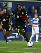 Alexander McQueen bearing down on the QPR goal during the Capital One Cup match between Queens Park Rangers and Carlisle United at the Loftus Road Stadium, London, England on 25 August 2015. Photo by Matthew Redman.