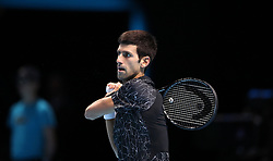 Serbia's Novak Djokovic in action in his Semi-final match during day seven of the Nitto ATP Finals at The O2 Arena, London.