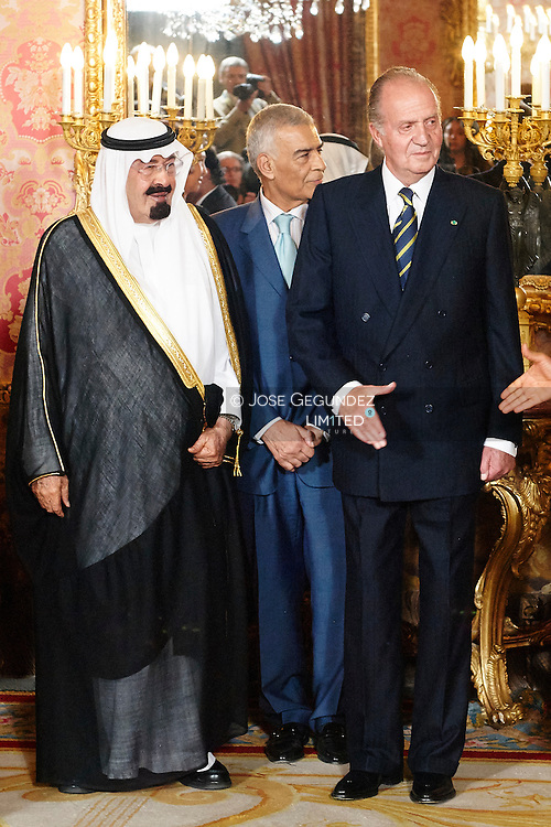 Saudi Arabia's King Abdullah and King Juan Carlos of Spain at Madrid's Royal palace. King Abdullah is on a two-day official state visit to Spain for the first time since he ascended to the throne two years ago. <br /> Saudi Arabia's King Abdullah dead at 90 years old.