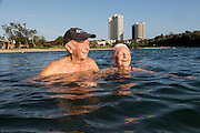 Milton 93 and Betty 89 Edwards have an early 6am swim in the Currumbin Estuary. They have been married for 71 years, have 11 children 4 adopted 40 Grand children 57 great grand children. Quote from Betty ...when I got married to Milton a vegetarian 71 years ago my family in Sydney gave me 6 months to live..... Her family were butchers and growing up she ate meat three meals a day. It was a different time of course but mum and dad died when they were 47 and 50.....<br />