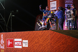 LIMA, Jan. 7, 2019  Austrian driver Matthias Walkner of KTM racing team reacts on the podium during the departure ceremony at the 2019 Dakar Rally Race, Lima, Peru, on Jan. 6, 2019. The 41st edition of Dakar Rally Race kicked off in Lima, Peru. (Credit Image: © Xinhua via ZUMA Wire)