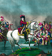 King William III leading the British troops at the battle of the Boyne, Ireland, 1690. Joint ruler with his wife Mary II  from 1689.  Invited as a Protestant  after the flight of the Roman Catholic  James II.  Print c1874. Religion Christian