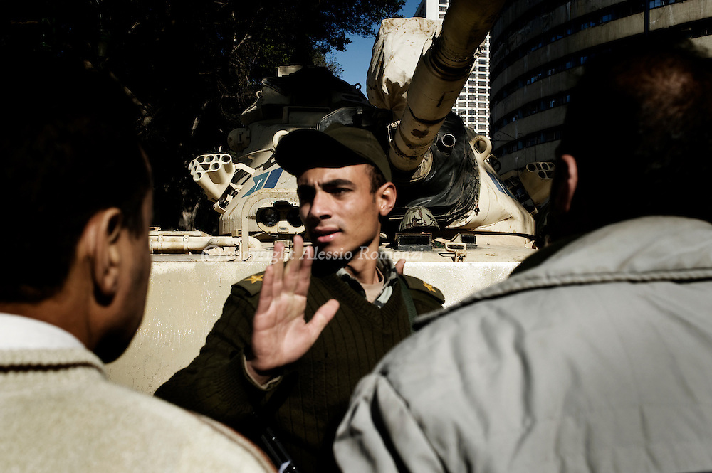 Soldier during a damonstration pro-Mubarak in Cairo on February 2, 2010.© ALESSIO ROMENZI