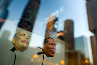 Two small plastic heads of  Sen. Barack Obama (D-IL), rights and Sen. John McCain (R-AZ), left, are seen in the early morning in downtown Chicago. Barack Obama was named the President Elect after defeating Sen. John McCain (R-AZ) in the presidential race for the United States of America, Wednesday Nov. 5, 2008 Chicago IL.