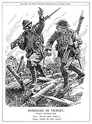 "Comrades in Victory. Combles, September 26th. Poilu. ""Brave, mon vieux!"" Tommy. ""Same to you, mate!"""