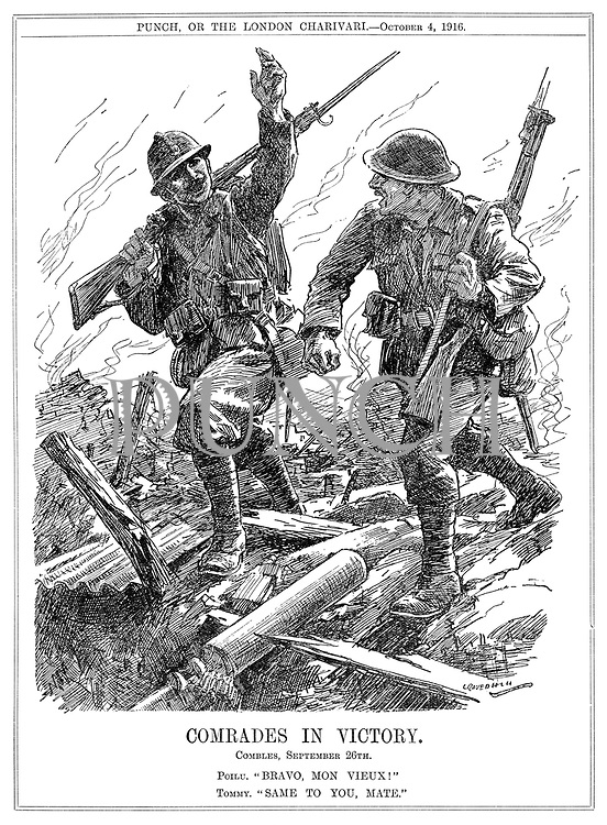 """Comrades in Victory. Combles, September 26th. Poilu. """"Brave, mon vieux!"""" Tommy. """"Same to you, mate!"""""""
