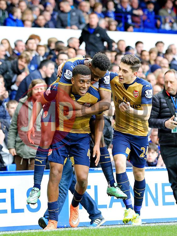 Arsenal's Alex Iwobi celebrates with his team mates after scoring the second goal for 2-0 - Mandatory byline: Matt McNulty/JMP - 19/03/2016 - FOOTBALL - Goodison Park - Liverpool, England - Everton v Arsenal - Barclays Premier League