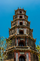 Thien Mu Pagoda (Pagoda of the Celestial Lady) is a historic temple in the city of Hue in Vietnam. Its iconic seven-storey pagoda is regarded as the unofficial symbol of the city. Hue, Central Vietnam.