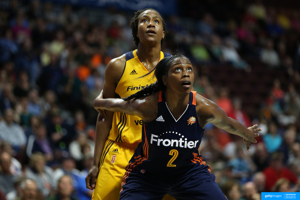 UNCASVILLE, CONNECTICUT- JUNE 5:  Camille Little #2 of the Connecticut Sun protects the basket on a free throw as Tamika Catchings #24 of the Indiana Fever watches the ball drop during the Indiana Fever Vs Connecticut Sun, WNBA regular season game at Mohegan Sun Arena on June 3, 2016 in Uncasville, Connecticut. (Photo by Tim Clayton/Corbis via Getty Images)