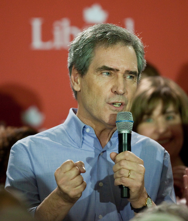 Liberal leader Michael Ignatieff speaks to a crowd of supporters at a campaign kickoff rally in Ottawa, Ontario, March 26, 2011 following the fall of the Conservative government  Friday. Canadians will be heading to the polls May 2.<br /> AFP/GEOFF ROBINS/STR