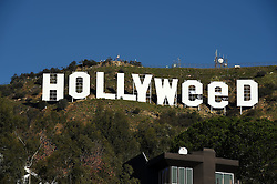 Vandalized Hollywood sign briefly reads 'Hollyweed' in honor of California marijuana law.<br /> 01 Jan 2017<br /> Pictured: General Views.<br /> Photo credit: Bauer Griffin / MEGA<br /> <br /> TheMegaAgency.com<br /> +1 888 505 6342