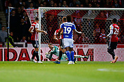 City's Midfielder Jacques Maghoma shoots during the EFL Sky Bet Championship match between Brentford and Birmingham City at Griffin Park, London, England on 2 October 2018.