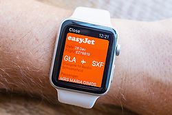 Easyjet boarding pass on Passbook app on an Apple Watch
