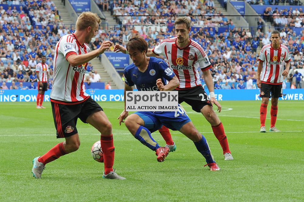 The livel Shinji Okazaki takes on the Sunderland defence (c) Simon Kimber   SportPix.org.uk