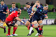 MELBOURNE, AUSTRALIA - APRIL 06: Luke Jones of the Rebels makes an attempt to run the ball at round 8 of The Super Rugby match between Melbourne Rebels and Sunwolves on April 06, 2019 at AAMI Park in VIC, Australia. (Photo by Speed Media/Icon Sportswire)