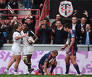 Yves Donguy celebrates with Luke McAlister after scoring the winning try for Toulouse. Stade Toulousain v Stade Francais, 9eme Journee, Top 14, Rugby, Stade Ernest Wallon, Toulouse, France, 29th October 2011.