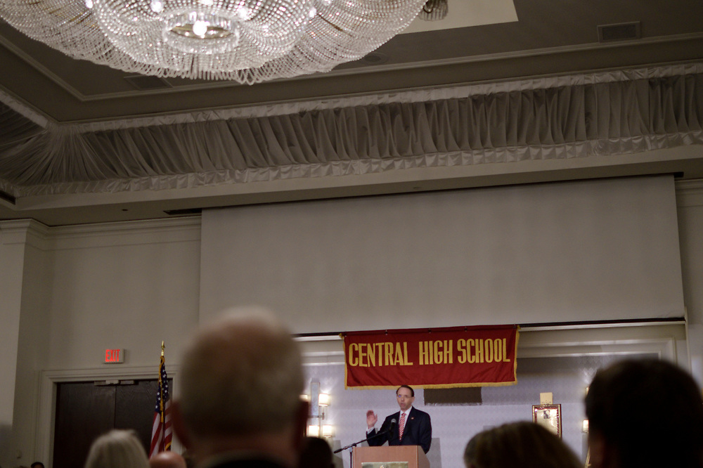 Deputy Attorney General Rod Rosenstein delivers the keynote speech during the annual alumni dinner of Central High, on Tuesday evening. (Bastiaan Slabbers for WHYY)