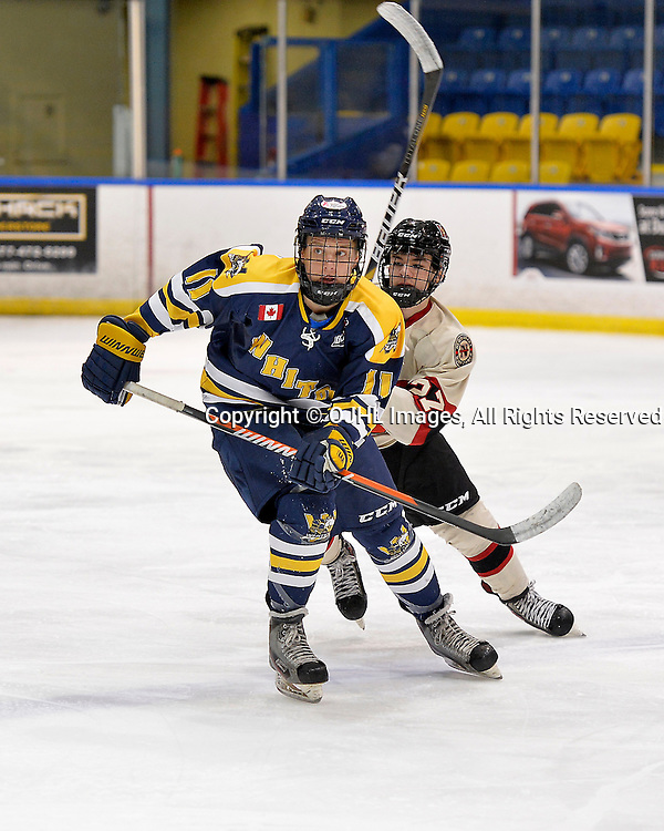 WHITBY, ON - Oct 9, 2015 : Ontario Junior Hockey League game action between Newmarket and Whitby, Justin Allen #11 of the Whitby Fury and Jeff Schrattner #27 of the Newmarket Hurricanes follow the play during the second period.<br /> (Photo by Shawn Muir / OJHL Images)