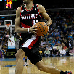 March 30, 2011; New Orleans, LA, USA; Portland Trail Blazers small forward Nicolas Batum (88) against the New Orleans Hornets during the third quarter at the New Orleans Arena. The Hornets defeated the Trail Blazers 95-91.   Mandatory Credit: Derick E. Hingle