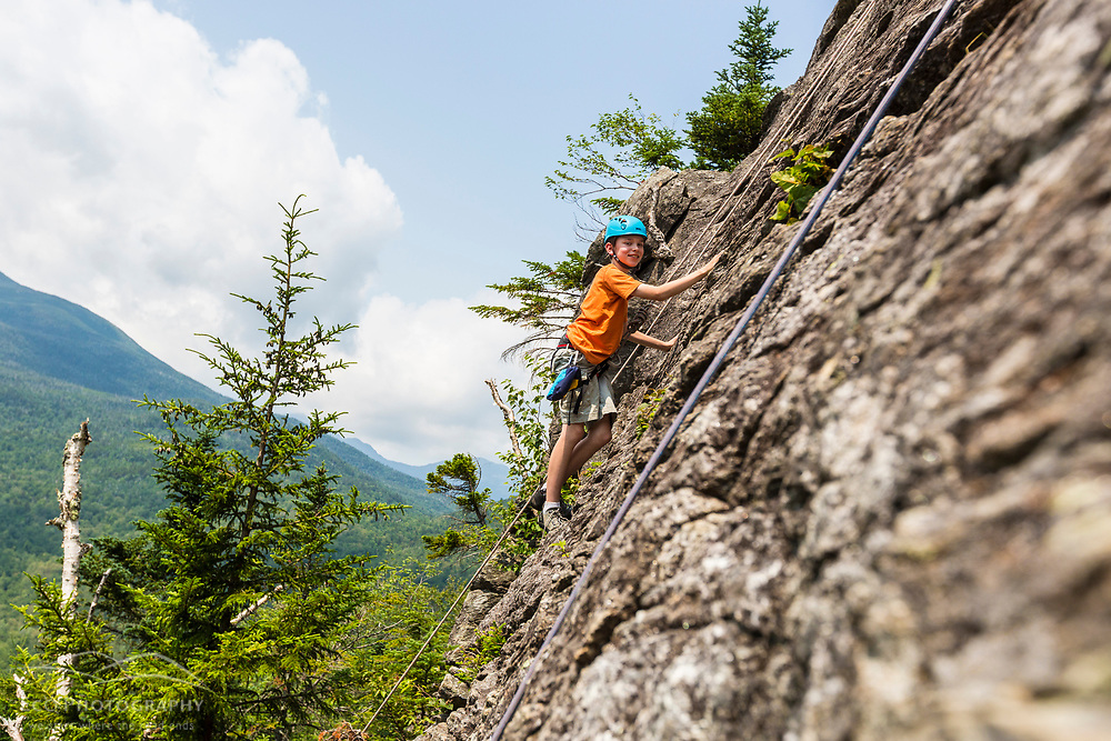 Will Tuttle rock climbing on Square Ledge in New Hampshire's White Mountains.