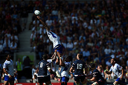 Filo Paulo of Samoa fails to claim the ball in a lineout - Mandatory byline: Patrick Khachfe/JMP - 07966 386802 - 20/09/2015 - RUGBY UNION - Brighton Community Stadium - Brighton, England - Samoa v USA - Rugby World Cup 2015 Pool B.