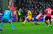 Daniel Leadbitter and Ryan Harley during the Sky Bet League 2 match between Exeter City and Bristol Rovers at St James' Park, Exeter, England on 28 November 2015. Photo by Graham Hunt.