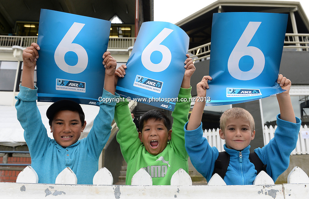 Young fans on Day 1 of the 2nd cricket test match of the ANZ Test Series. New Zealand Black Caps v West Indies at The Basin Reserve in Wellington. Wednesday 11 December 2013. Mandatory Photo Credit: Andrew Cornaga www.Photosport.co.nz