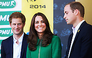 HARROGATE, UNITED KINGDOM: Britains Prince Harry, Princess Kate and Prince William pictured on the podium of the first stage of the 101st edition of the Tour de France cycling race, 190,5 km from Leeds to Harrogate, United Kingdom on Saturday 05 July 2014 COPYRIGHT ROBIN UTRECHT