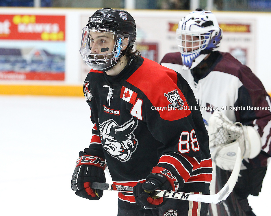 TRENTON, ON  - MAY 2,  2017: Canadian Junior Hockey League, Central Canadian Jr. &quot;A&quot; Championship. The Dudley Hewitt Cup. Game 1 between Dryden GM Ice Dogs and the Georgetown Raiders.   Andrew Court #88 of the Georgetown Raiders skates during the second period<br /> (Photo by Alex D'Addese / OJHL Images)