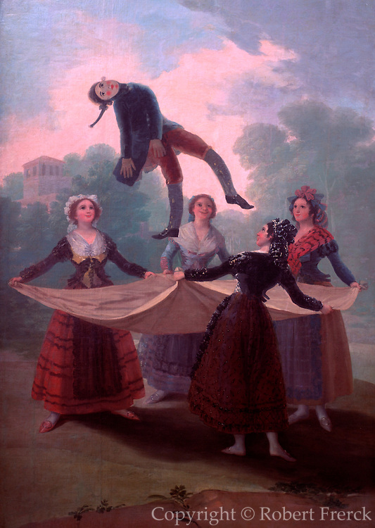 SPAIN, MADRID, PRADO MUSEUM 'El Baile a Orillas del Manzanares' painted in approximately 1791 by Francisco de Goya (1746-1828)