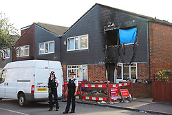 © Licensed to London News Pictures. 08/08/2018. London, UK. The scene of a house fire in Deptford, south London, in which a 7-year-old boy died. Police are treating the incident as arson and a murder inquiry has been launched. Photo credit: Rob Pinney/LNP
