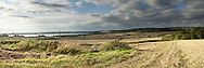 Farmoor Reservoir and the Thames Valley from a hillside near Cumnor, Oxfordshire, UK