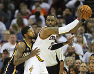 April 17, 2017 - Cleveland, OH, USA - Cleveland Cavaliers forward LeBron James is guarded by Indiana Pacers forward Paul George during the second quarter in Game 2 of an Eastern Conference playoff game on Monday, April 17, 2017, at Quicken Loans Arena in Cleveland, Ohio. (Credit Image: © Leah Klafczynski/TNS via ZUMA Wire)
