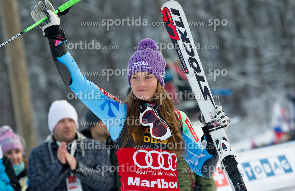 """Second placed MAZE Tina of Slovenia at flower ceremony after the 2nd Run of FIS Alpine Ski World Cup 7th Ladies' Giant Slalom race named """"49th Golden Fox 2013"""", on January 26, 2013 in Mariborsko Pohorje, Maribor, Slovenia. (Photo By Vid Ponikvar / Sportida.com)"""