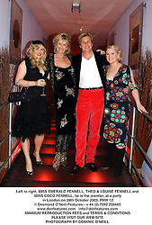 Left to right, MISS EMERALD FENNELL, THEO & LOUISE FENNELL and MISS COCO FENNELL, he is the jeweller, at a party in London on 28th October 2003.PNW 12