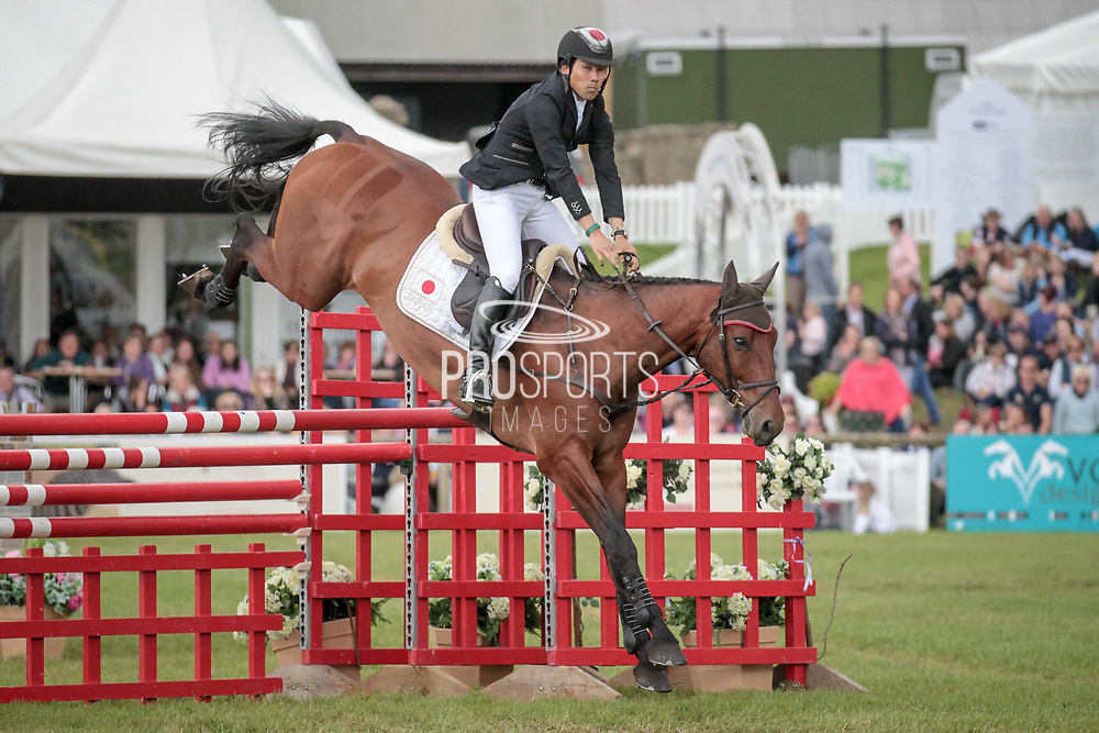 Overall Equitrek CCI*** winner CALLE 44 ridden by Yoshiaki Oiwa (JPN) during the final show jumping round on day four of Bramham International Horse Trials 2017 at  at Bramham Park, Bramham, United Kingdom on 11 June 2017. Photo by Mark P Doherty.