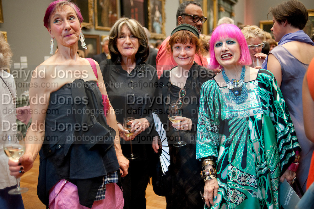 SILVIA ZIRANEK;  JANET NATHAN; JANE ENGLAND; ZANDRA RHODES, Tate Britain Summer party. Tate. Millbank. 27 June 2011. <br /> <br />  , -DO NOT ARCHIVE-© Copyright Photograph by Dafydd Jones. 248 Clapham Rd. London SW9 0PZ. Tel 0207 820 0771. www.dafjones.com.