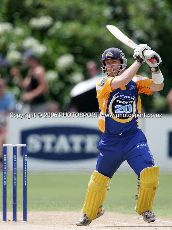 Otago Volts opening batsman Chris Gaffaney plays a shot thru the covers during the State Twenty20 cricket final between the State Auckland Aces and the State Otago Volts held at the Eden Park Outer Oval in Auckland, New Zealand on Sunday, 4 February, 2007. The Auckland Aces won the match by 60 runs. Photo: Tim Hales/PHOTOSPORT