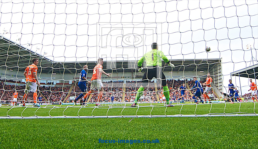 Picture by Ian Wadkins/Focus Images Ltd +44 7877 568959<br /> 21/09/2013<br /> Matthew Gilks of Blackpool looks on as a shot from Andy King of Leicester City goes past him to make it 2-1 to Leicester City during the Sky Bet Championship match at Bloomfield Road, Blackpool.