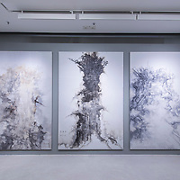 """Yi Pai's Exhibition at Pearl Lam Galleries on March 12, 2015 in Central, Hong Kong. Yi Pai attempts to rediscover the perception of wisdom and association of poetry in contemporary art and shorten the discrepancy between concepts and graphics, abstractness and reality, political discourse and aesthetic perception, and eliminates the """"premodern, modern, post modern and contemporary"""" historical narration on the lineal basis of time. Photo by Xaume Olleros / studioEAST"""