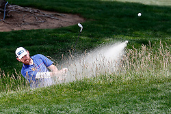 June 11, 2019 - Pebble Beach, CA, U.S. - PEBBLE BEACH, CA - JUNE 11: PGA golfer Louis Oosthuizen hits out of a sand trap on the 18th hole during a practice round for the 2019 US Open on June 11, 2019, at Pebble Beach Golf Links in Pebble Beach, CA. (Photo by Brian Spurlock/Icon Sportswire) (Credit Image: © Brian Spurlock/Icon SMI via ZUMA Press)
