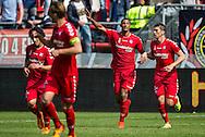 UTRECHT, FC Utrecht - SBV Excelsior, voetbal Eredivisie seizoen 2014-2015, 10-05-2015, Stadion Galgenwaard, FC Utrecht speler Sebastien Haller (M) heeft de 1-0 gescoord.
