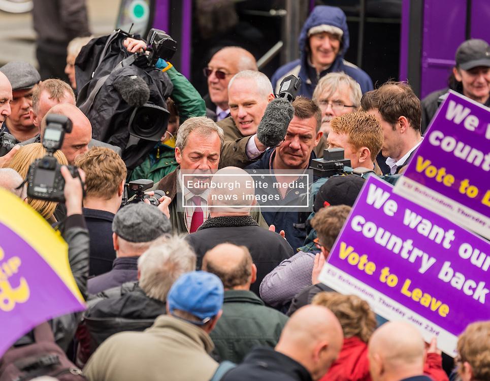 UKIP leader Nigel Farage visits Bolton on his party's Brexit battle bus tour encouraging voters to leave the EU in the referendum of June 23rd<br /> <br /> (c) John Baguley   Edinburgh Elite media