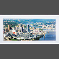 Signed and numbered 16x32 poster of the Cincinnati Skyline taken from an aerial view during the daytime