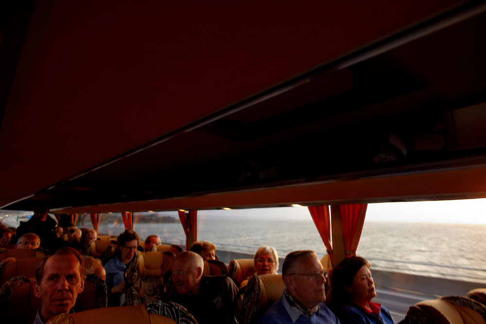 Denmark, 17.04.10..Due to the closed airspace over Europe, a group of 24 norwegian retirees hired a bus for 9300 euro, and embarked on the 20 hour roadtrip back home from vacation...Photo by: Eivind H. Natvig/MOMENT